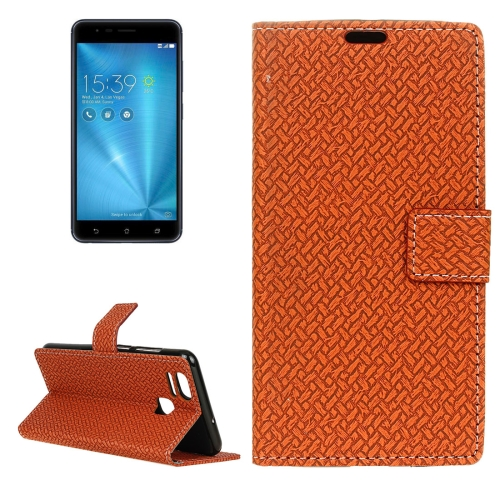 For ASUS ZenFone 3 Zoom / ZE553KL Knit Texture Horizontal Flip Leather Case with Holder & Card Slots & Wallet & Photo Frame, Brown