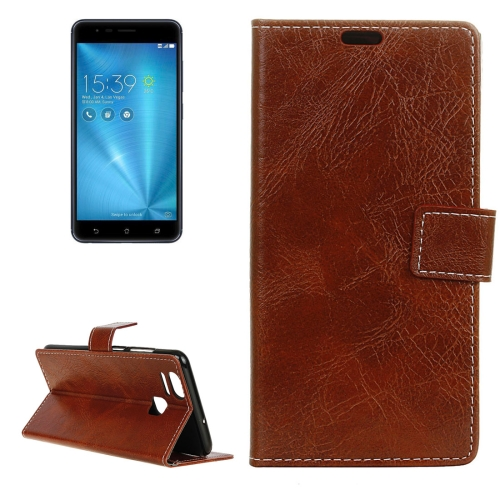 Buy For ASUS ZenFone 3 Zoom / ZE553KL Retro Crazy Horse Texture Horizontal Flip Leather Case with Holder & Card Slots & Wallet & Photo Frame, Brown for $2.96 in SUNSKY store