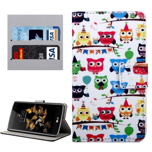 Buy For LG K8 Lovely Cartoon Owls Pattern Horizontal Flip Leather Case with Holder & Card Slots & Wallet for $2.33 in SUNSKY store
