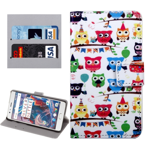 Buy OnePlus Three Lovely Cartoon Owls Pattern Horizontal Flip Leather Case with Holder & Card Slots & Wallet for $2.33 in SUNSKY store