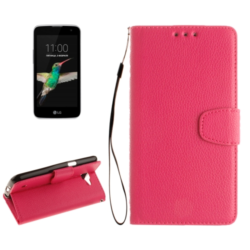 Buy For LG K4 Litchi Texture Horizontal Flip Leather Case with Holder & Card Slots & Wallet & Photo Frame & Lanyard, Magenta for $2.42 in SUNSKY store