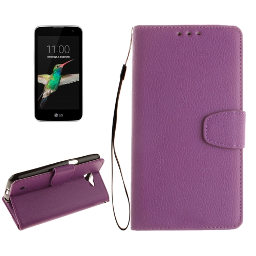 Buy For LG K4 Litchi Texture Horizontal Flip Leather Case with Holder & Card Slots & Wallet & Photo Frame & Lanyard, Purple for $2.42 in SUNSKY store