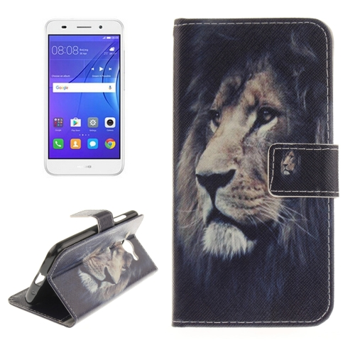 Huawei Y3, 2017 Lion Pattern Horizontal Flip Leather Case with Holder & Card Slots & Wallet