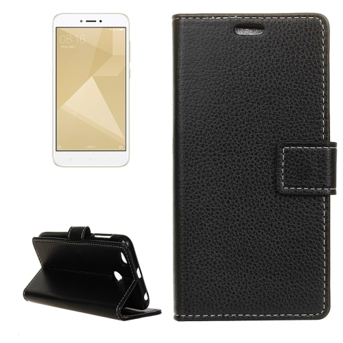 Buy Xiaomi Redmi 4X Litchi Texture Horizontal Flip Leather Case with Holder & Card Slots & Wallet, Black for $2.97 in SUNSKY store