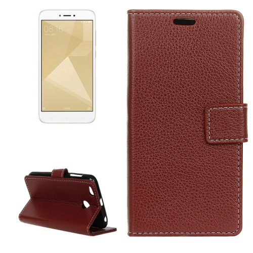 Buy Xiaomi Redmi 4X Litchi Texture Horizontal Flip Leather Case with Holder & Card Slots & Wallet, Brown for $2.97 in SUNSKY store