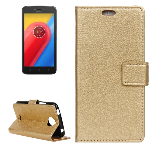 For Motorola Moto C, 2017 Litchi Texture Horizontal Flip Leather Case with Holder & Card Slots & Wallet, Gold