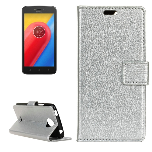 Buy For Motorola Moto C, 2017 Litchi Texture Horizontal Flip Leather Case with Holder & Card Slots & Wallet, Silver for $2.84 in SUNSKY store