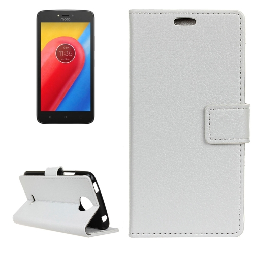 Buy For Motorola Moto C, 2017 Litchi Texture Horizontal Flip Leather Case with Holder & Card Slots & Wallet, White for $2.84 in SUNSKY store