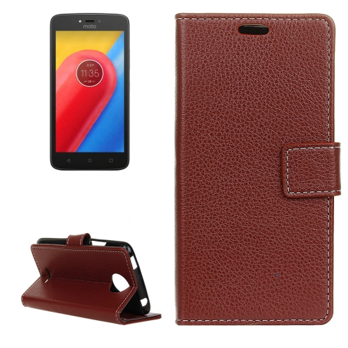 Buy For Motorola Moto C, 2017 Litchi Texture Horizontal Flip Leather Case with Holder & Card Slots & Wallet, Brown for $2.84 in SUNSKY store
