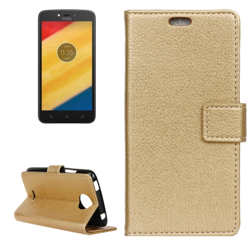 Buy For Motorola Moto C Plus Litchi Texture Horizontal Flip Leather Case with Holder & Card Slots & Wallet, Gold for $2.82 in SUNSKY store