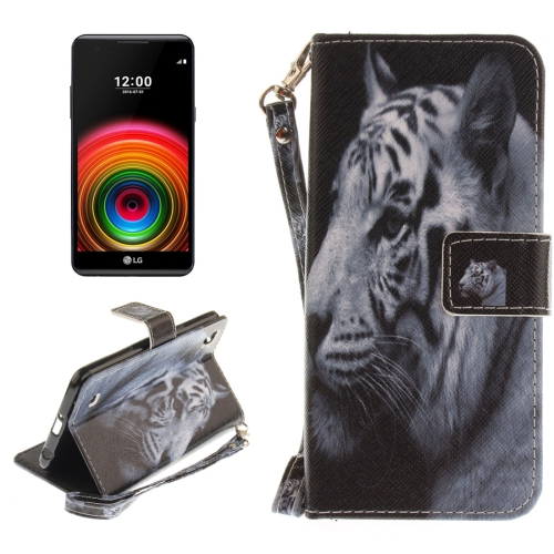 Buy For LG X Power White Tiger Pattern Horizontal Flip Leather Case with Holder & Card Slots & Wallet & Lanyard for $2.52 in SUNSKY store