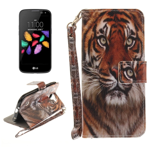 Buy For LG K3, 2017 Tiger Pattern Horizontal Flip Leather Case with Holder & Card Slots & Wallet & Lanyard for $2.41 in SUNSKY store