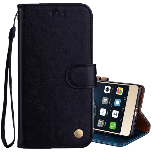 For Huawei P9 Lite Business Style Oil Wax Texture Horizontal Flip Leather Case with Holder & Card Slots & Wallet, Black