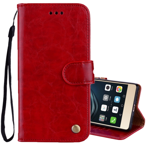 Buy For Huawei P9 Lite Business Style Oil Wax Texture Horizontal Flip Leather Case with Holder & Card Slots & Wallet, Red for $2.36 in SUNSKY store