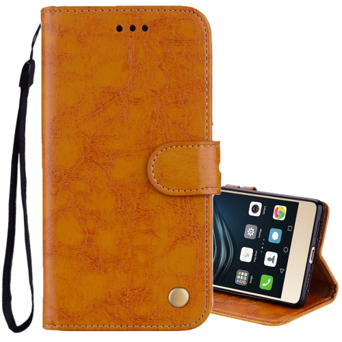 Buy For Huawei P9 Lite Business Style Oil Wax Texture Horizontal Flip Leather Case with Holder & Card Slots & Wallet, Yellow for $2.36 in SUNSKY store