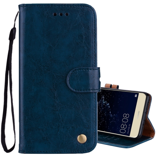 Buy For Huawei P10 Lite Business Style Oil Wax Texture Horizontal Flip Leather Case with Holder & Card Slots & Wallet, Blue for $1.74 in SUNSKY store