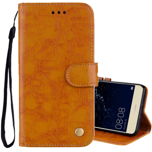 Buy For Huawei P10 Lite Business Style Oil Wax Texture Horizontal Flip Leather Case with Holder & Card Slots & Wallet, Yellow for $1.74 in SUNSKY store