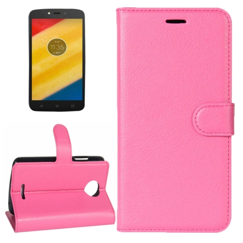 Buy For Motorola Moto C Litchi Texture Horizontal Flip Leather Case with Holder & Card Slots & Wallet, Magenta for $2.30 in SUNSKY store