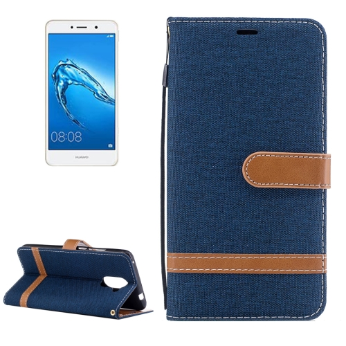 Buy Huawei Y7 Denim Texture Leather Case with Holder & Card Slots & Wallet & Lanyard (Dark Blue) for $2.68 in SUNSKY store