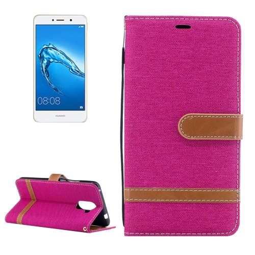 Buy Huawei Y7 Denim Texture Leather Case with Holder & Card Slots & Wallet & Lanyard, Magenta for $2.67 in SUNSKY store