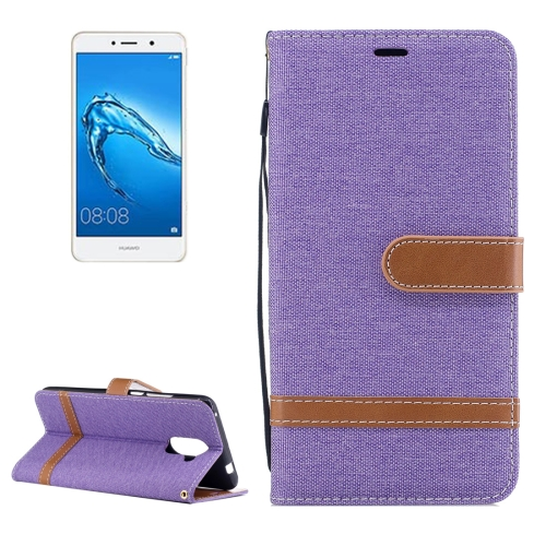 Buy Huawei Y7 Denim Texture Leather Case with Holder & Card Slots & Wallet & Lanyard, Purple for $2.67 in SUNSKY store