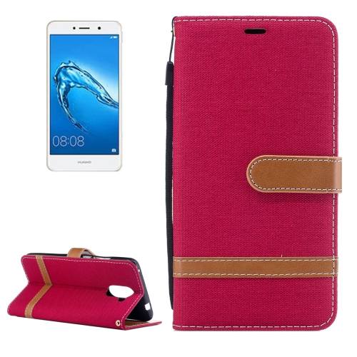 Buy Huawei Y7 Denim Texture Leather Case with Holder & Card Slots & Wallet & Lanyard, Red for $2.67 in SUNSKY store