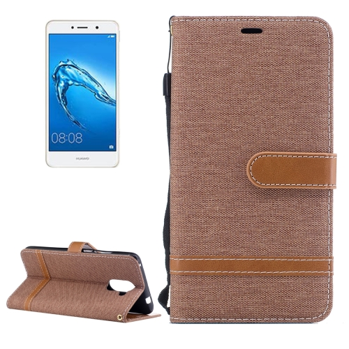 Buy Huawei Y7 Denim Texture Leather Case with Holder & Card Slots & Wallet & Lanyard, Brown for $2.68 in SUNSKY store