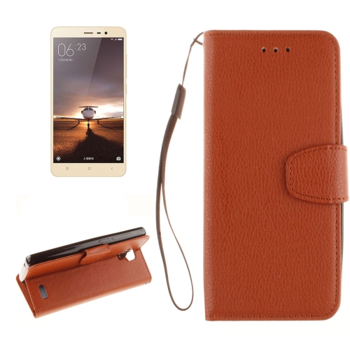 Buy For Xiaomi Redmi Note 3 Litchi Texture Horizontal Flip PU Leather Case with Holder & Card Slots & Wallet & Photo Frame & Lanyard, Brown for $2.41 in SUNSKY store