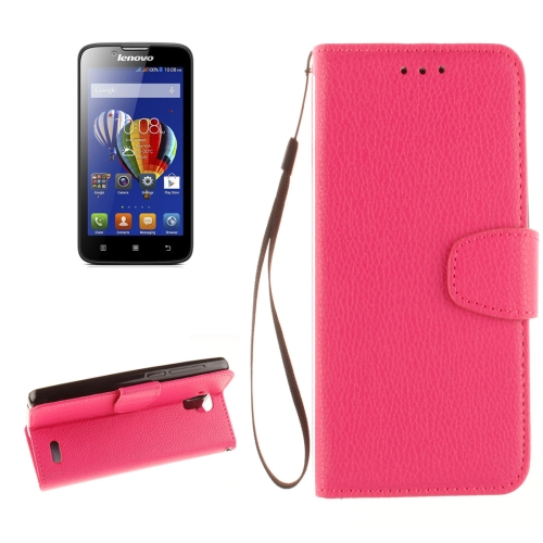 Buy For Lenovo A536 Litchi Texture Horizontal Flip PU Leather Case with Holder & Card Slots & Wallet & Photo Frame & Lanyard, Magenta for $2.42 in SUNSKY store