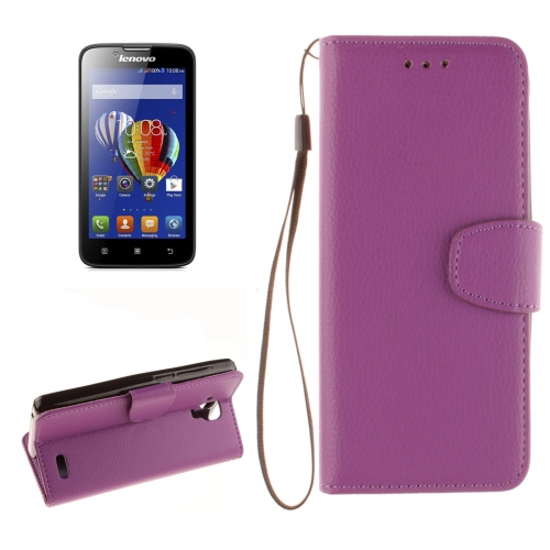 Buy For Lenovo A536 Litchi Texture Horizontal Flip PU Leather Case with Holder & Card Slots & Wallet & Photo Frame & Lanyard, Purple for $2.42 in SUNSKY store