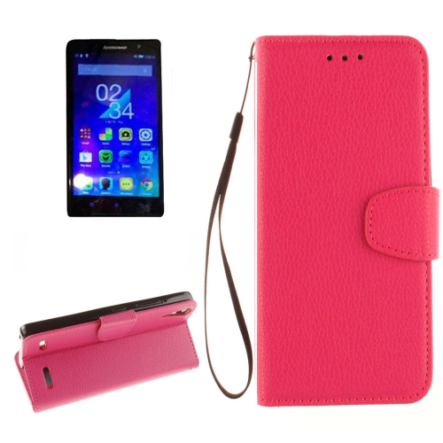 Buy For Lenovo A6000 & K3 Litchi Texture Horizontal Flip PU Leather Case with Holder & Card Slots & Wallet & Photo Frame & Lanyard, Magenta for $2.42 in SUNSKY store