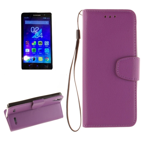 Buy For Lenovo A6000 & K3 Litchi Texture Horizontal Flip PU Leather Case with Holder & Card Slots & Wallet & Photo Frame & Lanyard, Purple for $2.42 in SUNSKY store
