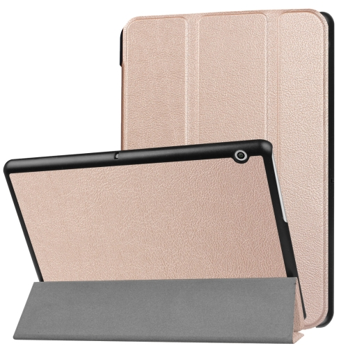 For Huawei MediaPad T3 10 Custer Texture Horizontal Flip Leather Case with Three-folding Holder(Rose Gold)