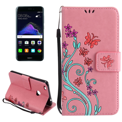 Buy Huawei P8 Lite, 2017 Painted Butterfly Pattern Horizontal Flip Leather Case with Holder & Card Slots & Wallet & Lanyard, Pink for $2.91 in SUNSKY store