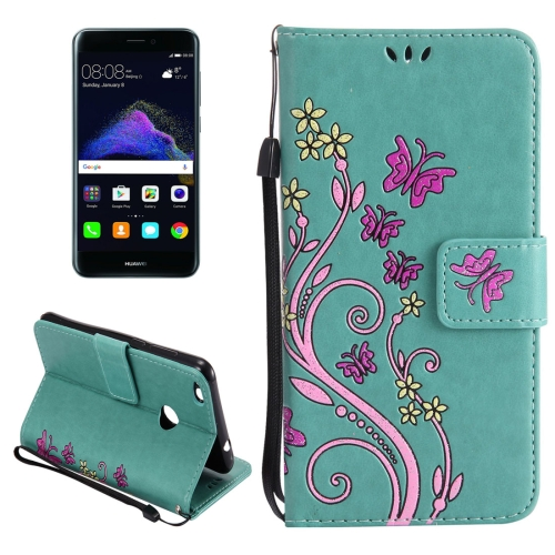Buy Huawei P8 Lite, 2017 Painted Butterfly Pattern Horizontal Flip Leather Case with Holder & Card Slots & Wallet & Lanyard, Green for $2.90 in SUNSKY store