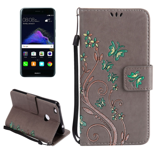 Buy Huawei P8 Lite, 2017 Painted Butterfly Pattern Horizontal Flip Leather Case with Holder & Card Slots & Wallet & Lanyard, Grey for $2.90 in SUNSKY store