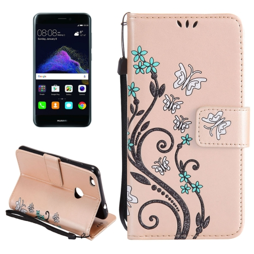Buy Huawei P8 Lite, 2017 Painted Butterfly Pattern Horizontal Flip Leather Case with Holder & Card Slots & Wallet & Lanyard, Gold for $2.90 in SUNSKY store