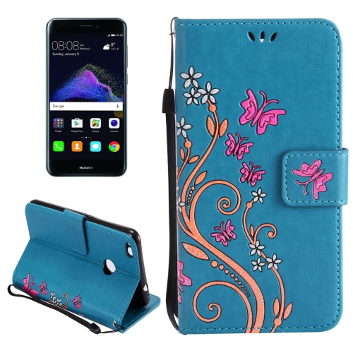 Buy Huawei P8 Lite, 2017 Painted Butterfly Pattern Horizontal Flip Leather Case with Holder & Card Slots & Wallet & Lanyard, Blue for $2.90 in SUNSKY store