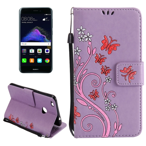 Buy Huawei P8 Lite, 2017 Painted Butterfly Pattern Horizontal Flip Leather Case with Holder & Card Slots & Wallet & Lanyard, Purple for $2.91 in SUNSKY store