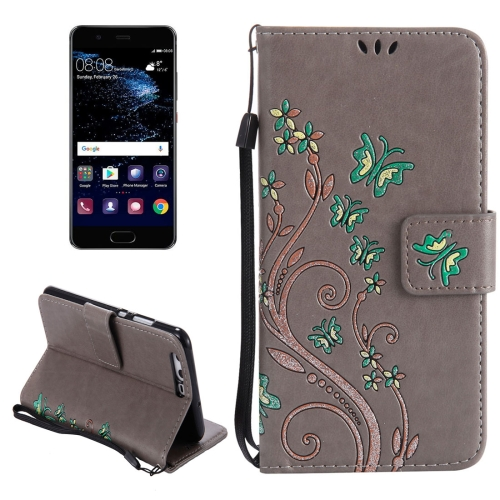 Buy Huawei P10 Painted Butterfly Pattern Horizontal Flip Leather Case with Holder & Card Slots & Wallet & Lanyard, Grey for $2.85 in SUNSKY store
