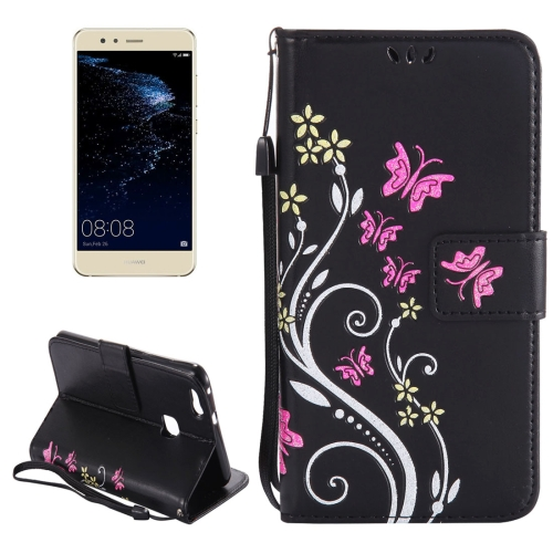 Buy Huawei P10 Lite Painted Butterfly Pattern Horizontal Flip Leather Case with Holder & Card Slots & Wallet & Lanyard, Black for $2.91 in SUNSKY store