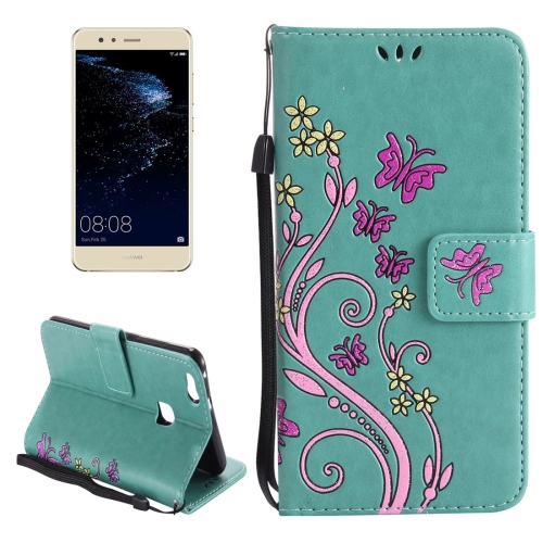 Buy Huawei P10 Lite Painted Butterfly Pattern Horizontal Flip Leather Case with Holder & Card Slots & Wallet & Lanyard, Green for $2.79 in SUNSKY store