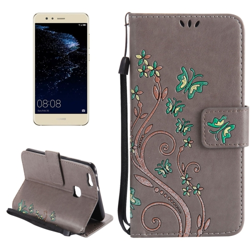 Huawei P10 Lite Painted Butterfly Pattern Horizontal Flip Leather Case with Holder & Card Slots & Wallet & Lanyard, Grey