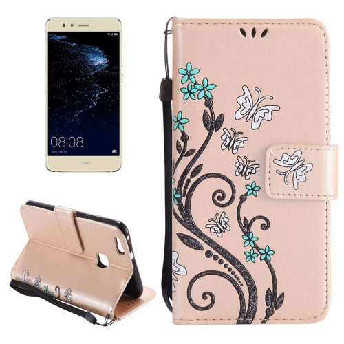 Buy Huawei P10 Lite Painted Butterfly Pattern Horizontal Flip Leather Case with Holder & Card Slots & Wallet & Lanyard, Gold for $2.79 in SUNSKY store