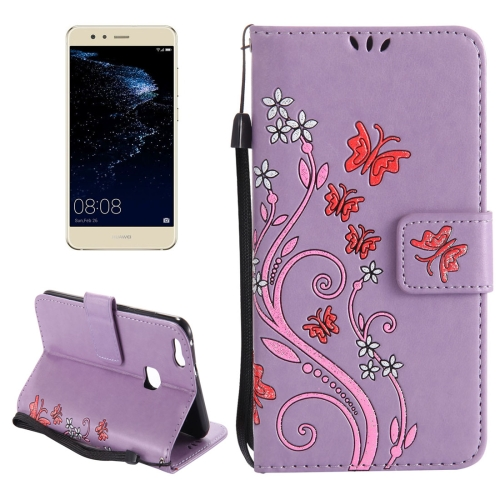 Buy Huawei P10 Lite Painted Butterfly Pattern Horizontal Flip Leather Case with Holder & Card Slots & Wallet & Lanyard, Purple for $2.90 in SUNSKY store