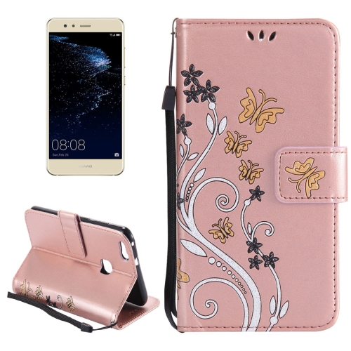 Buy Huawei P10 Lite Painted Butterfly Pattern Horizontal Flip Leather Case with Holder & Card Slots & Wallet & Lanyard (Rose Gold) for $2.85 in SUNSKY store