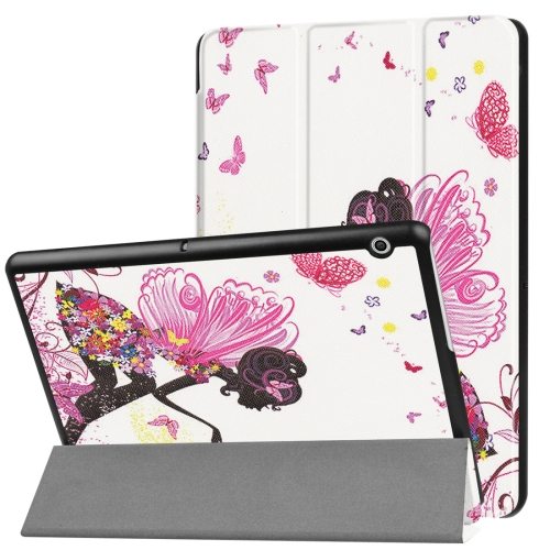 Huawei MediaPad T3 10 Butterfly Fairy Pattern Horizontal Deformation Flip Leather Case with Three-folding Holder