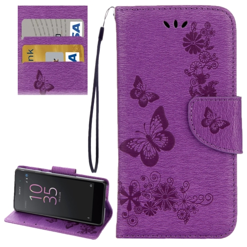 Buy For Sony Xperia E5 Butterflies Embossing Horizontal Flip Leather Case with Holder & Card Slots & Wallet & Lanyard, Purple for $2.16 in SUNSKY store