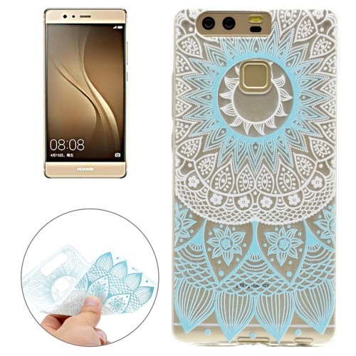 Buy For Huawei P9 Blue Pattern Transparent Soft TPU Protective Back Cover Case for $1.16 in SUNSKY store
