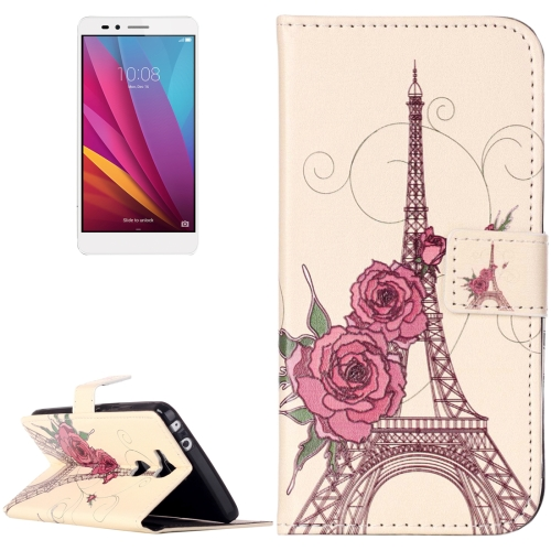 Buy Huawei Honor 5X Rilievo Carving Rose Tower Pattern Horizontal Flip Leather Case with Magnetic Buckle & Holder & Card Slots & Wallet for $2.14 in SUNSKY store